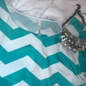 Francesca's Collections Dresses - ✨BLUE AND WHITE CHEVRON DRESS✨